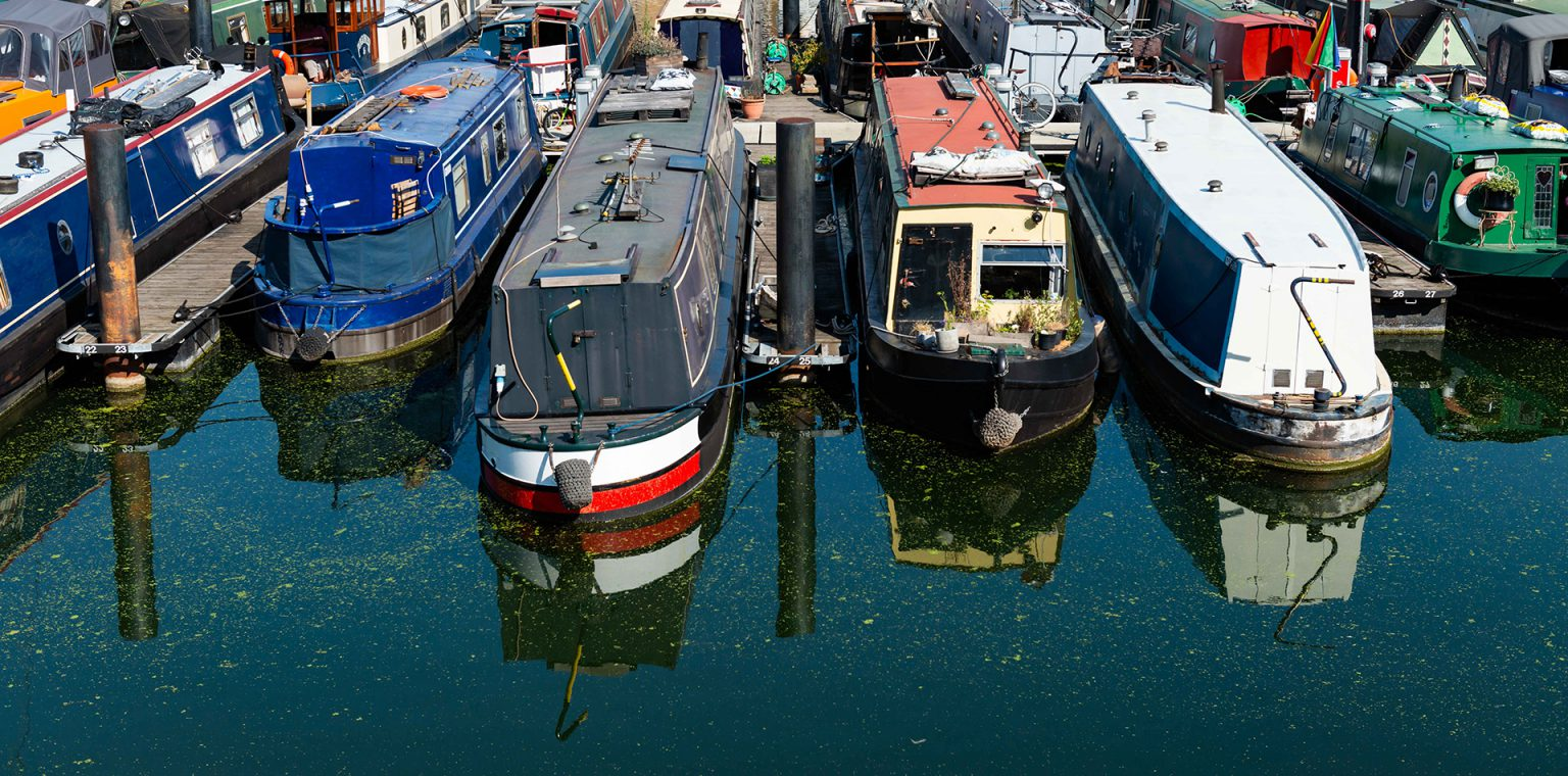 Narrow boats in a marina on the tidal Thames