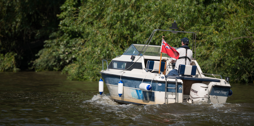 Motor boating on the tidal Thames